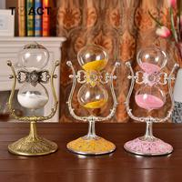European Classical Hourglass 60 Minute Chaotic Metal Hd Glass Crafts Birthday Gifts Sand Hourglass