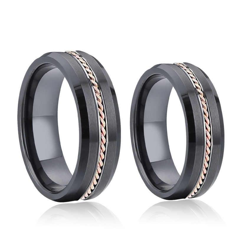 Изготовленное на заказ Настоящее розовое золото твист черное кольцо для мужчин модные ювелирные изделия любовь Alliance Мужской юбилей женские керамические кольца для женщин