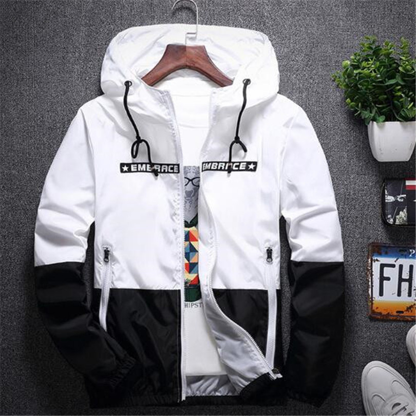 New Spring Autumn Bomber Hooded Jacket Men Casual Slim Patchwork Windbreaker Jacket Male Outwear Zipper Thin Coat Brand Clothing #1