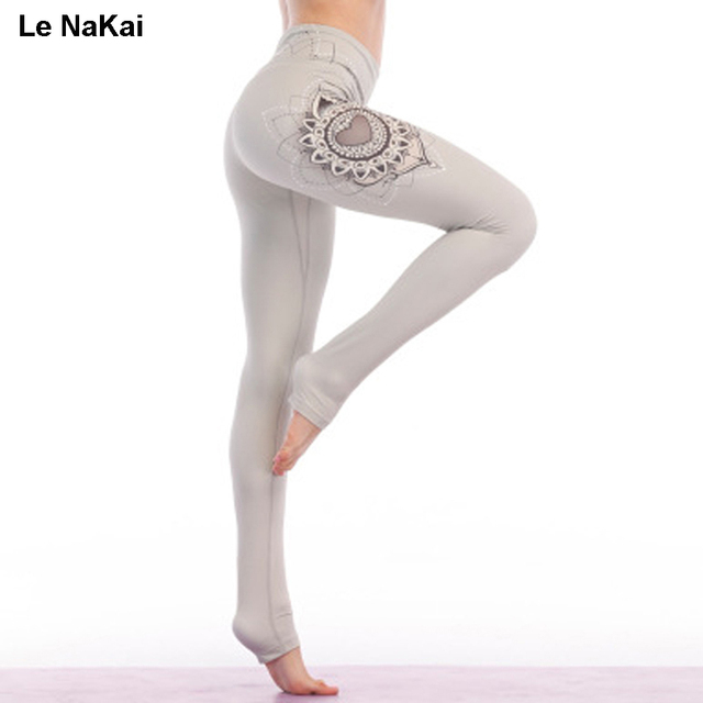 57a284dbaccc7e Unique design Lotus Print Yoga Pants High waist stretchy women yoga  leggings Black Datura print workout gym leggings heart pants
