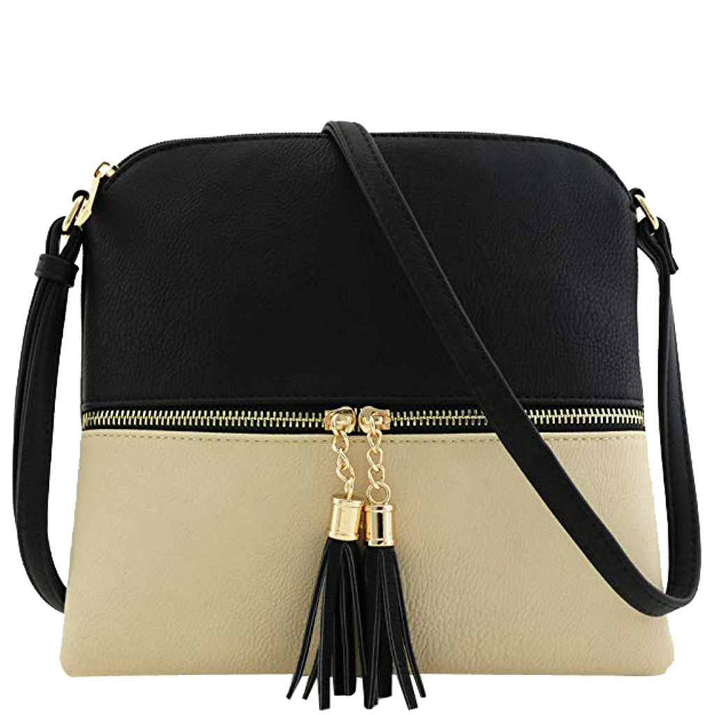 Sleeper #401 2019 Women Leather Tassel Cross Body Bags Hit Color Shoulder Bags Messenger Bag FASHION DESIGN Hot Free Shipping