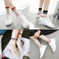 Spring summer mulheres estilo harajuku listrado meias de cristal transparente meias novo japonês japão vidro silk sock calcetines mujer