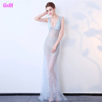 Glamorous Sky Blue Mermaid Evening Dresses 2018 Sexy Formal Party Dress Long Transparent V Neck Tulle Crystal Beading Prom Gowns