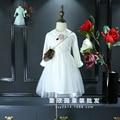 Korean children's clothing 2017 spring new girl high-end cotton cartoon doll collar shirt stitching net yarn dress
