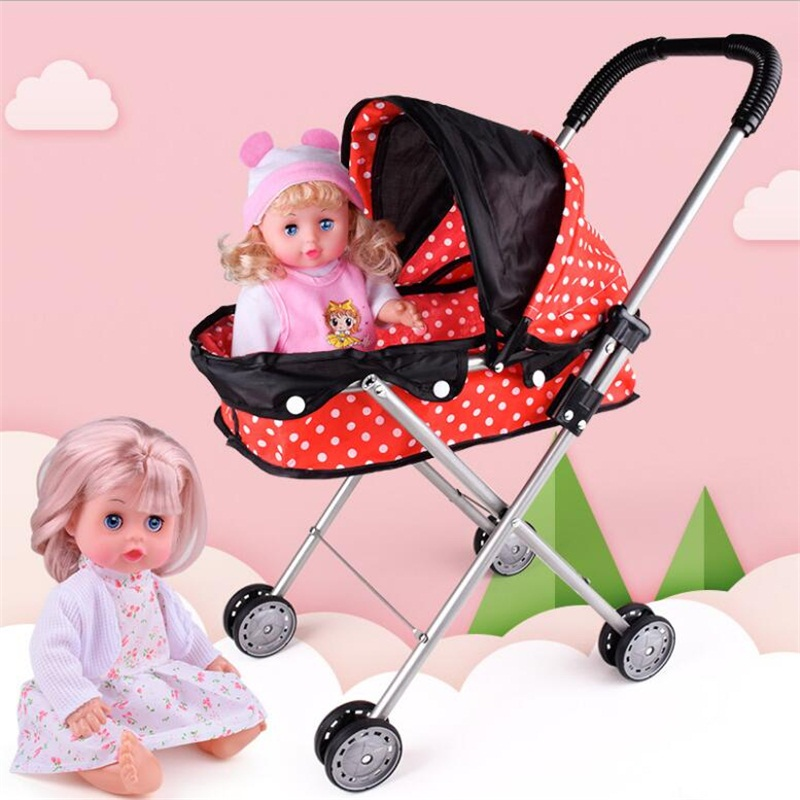 55 Cm Baby Doll Trolley Large Iron Cart Toy And 20cm Baby Doll Birthday Present Playhouse Toy Baby Gift Doll Accessories