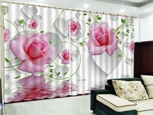 Custom 3D Curtain Love Is Full Of Pink Roses Living Room Bedroom Beautiful Practical Blackout Curtains