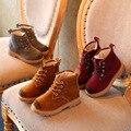Бесплатная Доставка Девушки Мартин Сапоги 2016 Зимняя Мода Детские Короткие Сапоги Кожаные Мальчиков Обувь Малыша детская Обувь