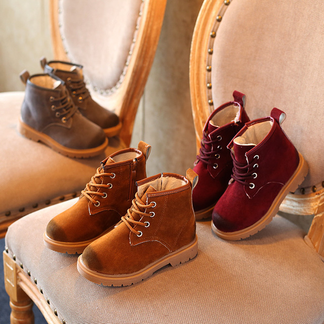 Free Shipping Girls Martin Boots 2016 Winter Fashion Baby Short Boots Leather Boys Toddler Shoes Children's Shoes