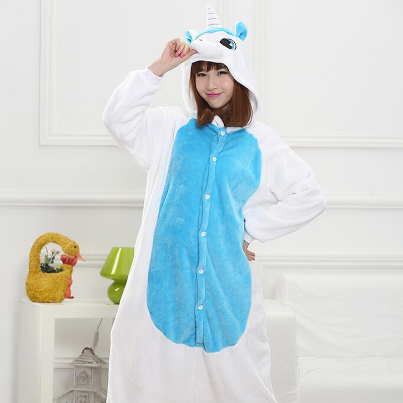 Adult Unisex cute panda Unicorn Flannel winter pajama;pijama Pikachu Onesie Cosplay Cost ...