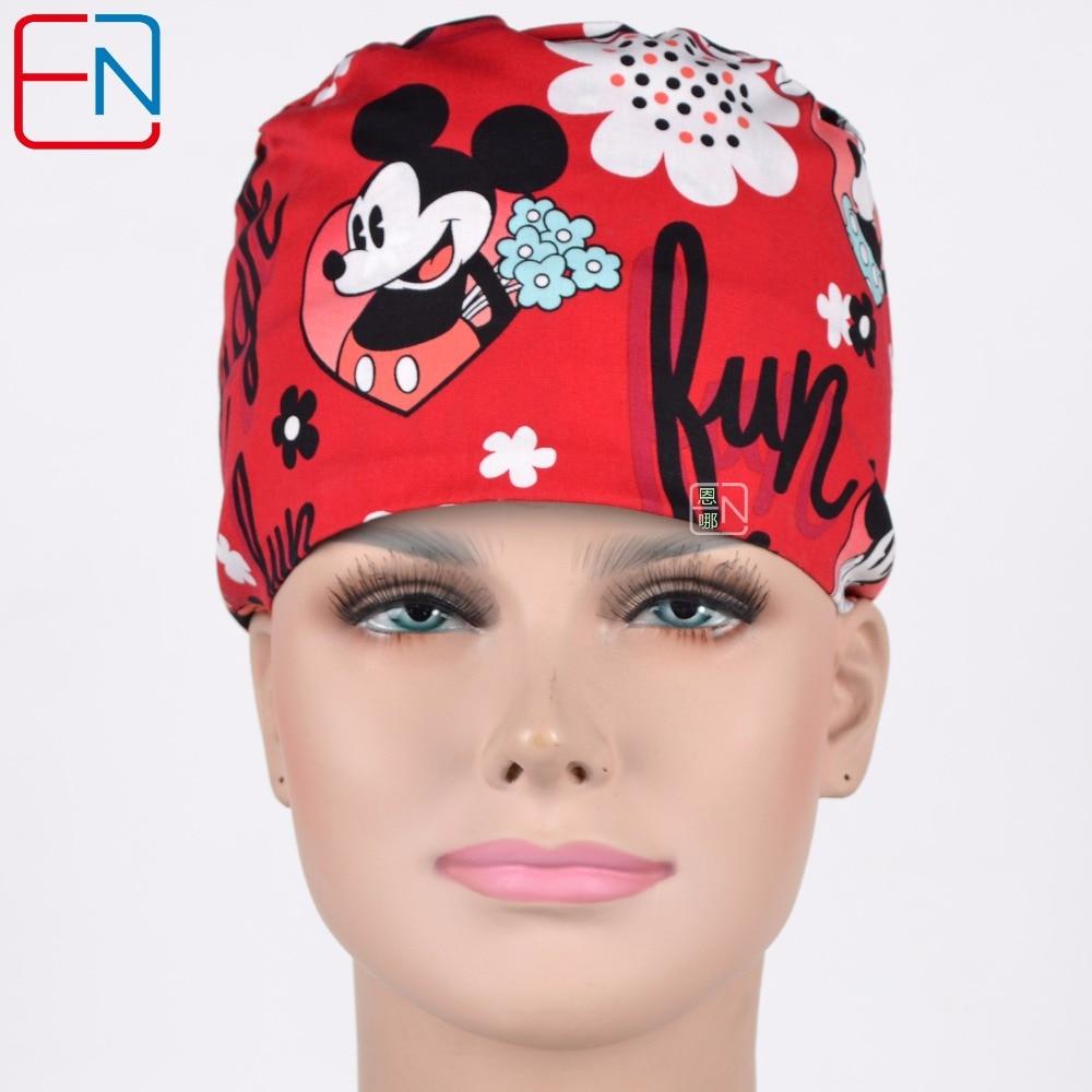Hennar Cartoon Print Doctor Work Caps Women Masks Adjustable With Sweatband Surgical Cap Female Medicine Facial Scrub Hat Mask