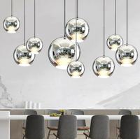 Modern Style Mirror Glass Ball Pendant Lights Copper Color Globe Lamp Pendant Light Modern Lighting Fixtures 1piece