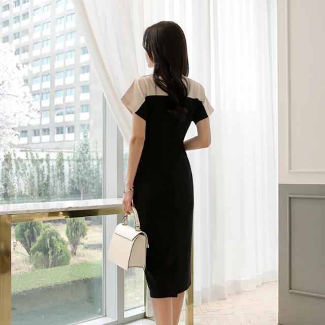 Fashion Patchwork Batwing Sleeve Women Sheath Bodycon Dress OL Style O-neck High