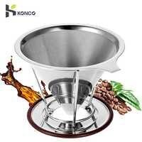 KONCO acier inoxydable verser sur le goutteur de café avec support, cafetière filtre à cône, cafetière filtre à café réutilisable