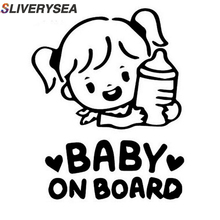 SLIVERYSEA Baby Girl On Board 3D Car Stickers Motorcycle Decals Vinyl Window Stickers Car Styling #B1069