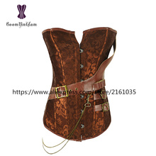 907# Plus size 6XL Retro Bustiers Corsets Women Zipper Brown Brocade Steampunk Corset Top With G-string