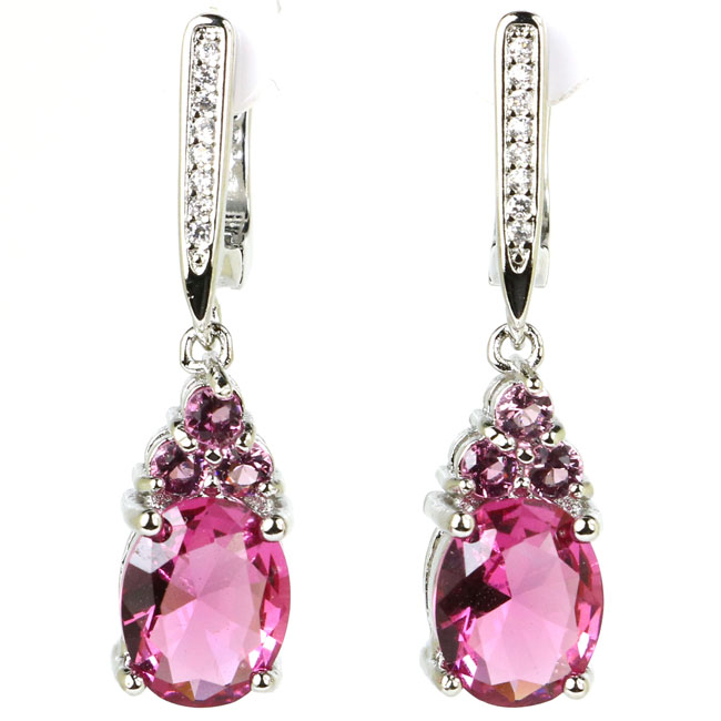Ravishing Drop Pink Tourmaline Cubic Zirconia Woman's Silver Earrings 32x8mm