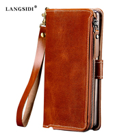 Fabrieken Aanpassen multifunctionele Echt Rundleer Case Voor LG Q6 Plus X600 X600K X600S X600L Flip Mobiele Telefoon tas