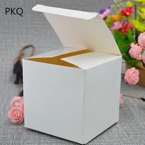 Image 4 - 50 sztuk papierowe opakowanie kraft box czarny/biały/papier pakowy kwadratowe pudełko na cukierki impreza weselna upominek prezent Box czarny paeprcardboard Box