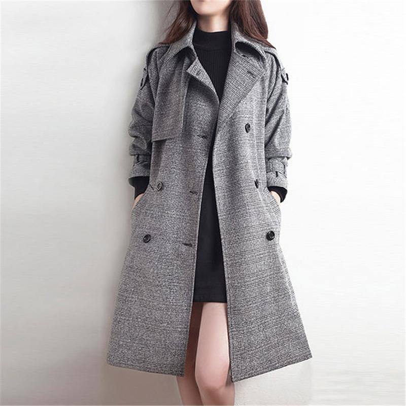 2019 New Spring Autumn Long   Trench   Coat Women Fashion Classic Double Breasted Belt Plaid   Trench   coat Casual Slim Outerwear D141