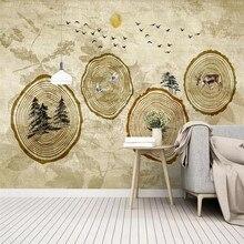 Modern minimalist annual tree big elk boat TV background wall professional manufacturing mural photo wallpaper