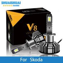 2 шт. автомобильный головной светильник для Skoda Octavia 2 Citigo Rapid Fabia Superb H7 светодиодный H4 светодиодный H1 H7 H3 9005 8000 лм CSP чипы противотуманный светильник лампа