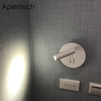 Apextech LED Modern Wall Lamp Bedroom Wall Mounted Night Light 360 Degree Rotatable Bedside Reading Lamp For Hotel AC85 265V
