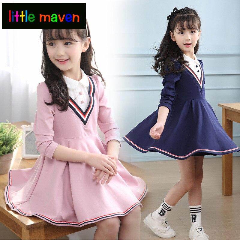 Automne bébé filles robe uniforme scolaire pour fille coton col roulé robe plissée Vestido Infantil princesse enfants vêtements