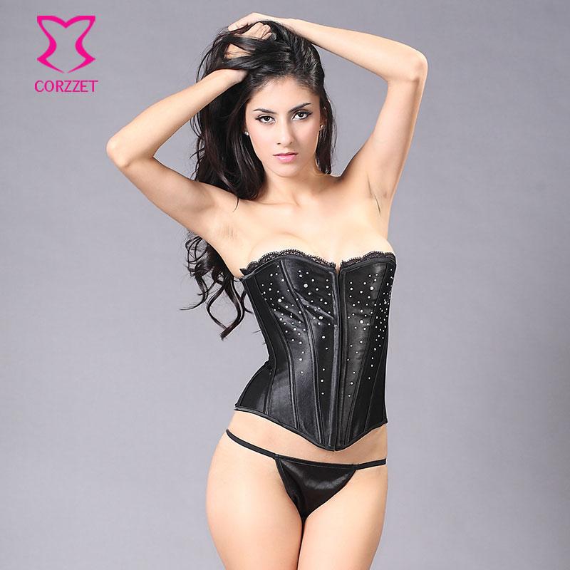 Black Lace Top Satin Stud Rhinestone Bustier Corset Sexy Corselet Overbust Corpetes E Espartilhos Para Festa Gothic Clothing