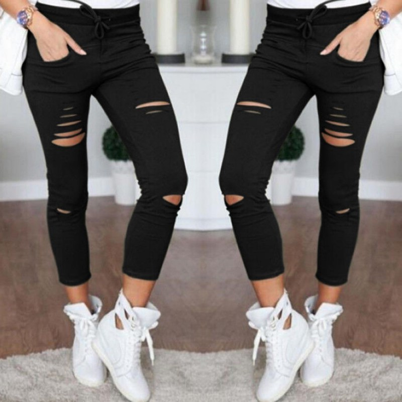 New High Waist Thin   Pants     Capris   Leggings Female Hole Plain Weave Pencil   Pants   Casual Sweatpants