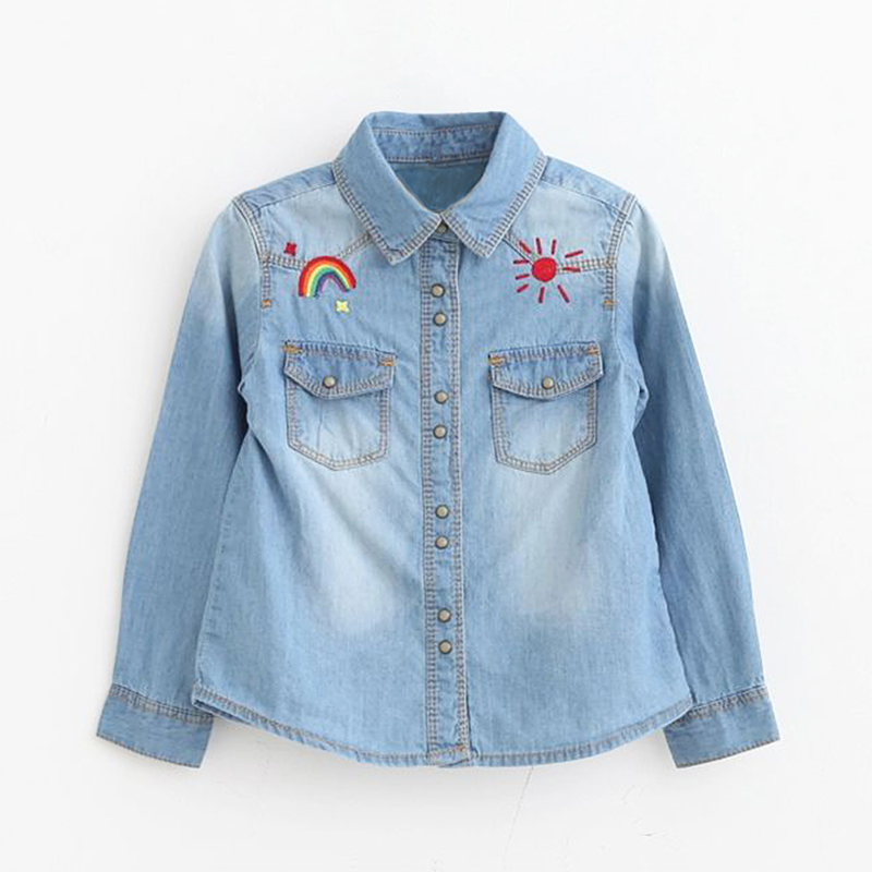 Baby Flickor Denimskjorta Ganska broderade Denimskjortor för flickor - Barnkläder