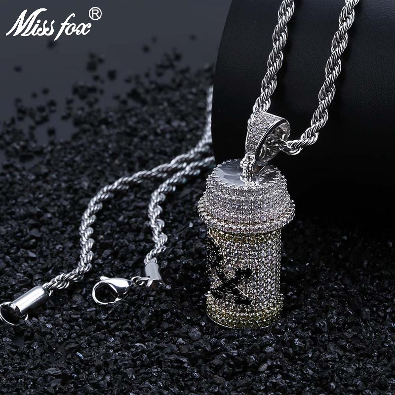 MISSFOX Hip Hop Removable Para Xylene Poison PX Long Necklace Pendant 24K Gold Plated AAA Cubic