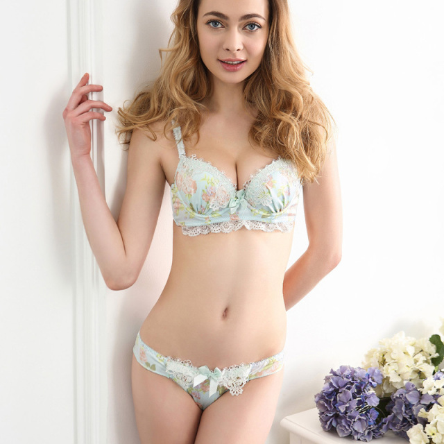 hiffon Floral Adjustable Bra Set