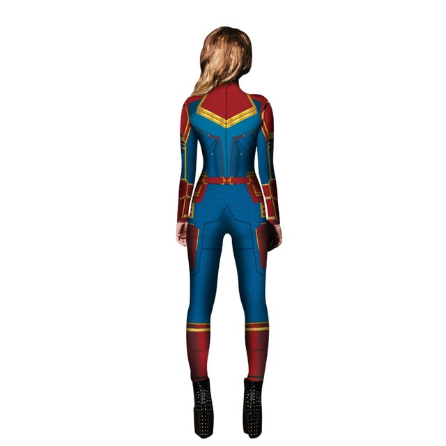 2019 nuovo Capitan Marvel Carol Danvers Costumi Cosplay Della Tuta Catsuit Halloween Fantasia Abito Da Ballo