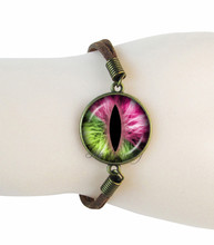Cat Eye Bracelet Dragon Jewelry Gl Dome Evil Pendant Brown Suede Leather Bracelets For