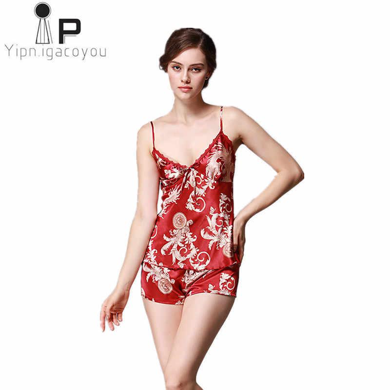 Pigiama donna комплект из двух предметов летние спиннинг слинг шелковые пикантные пижамы свободные женские Ночное Набор печати дома костюм A132