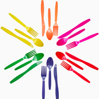 30 шт./упак. (10 комплектов) сплошной цвет пластиковые столовые приборы для свадьбы и дня рождения вилка + ложка + нож вечерние партия Декор