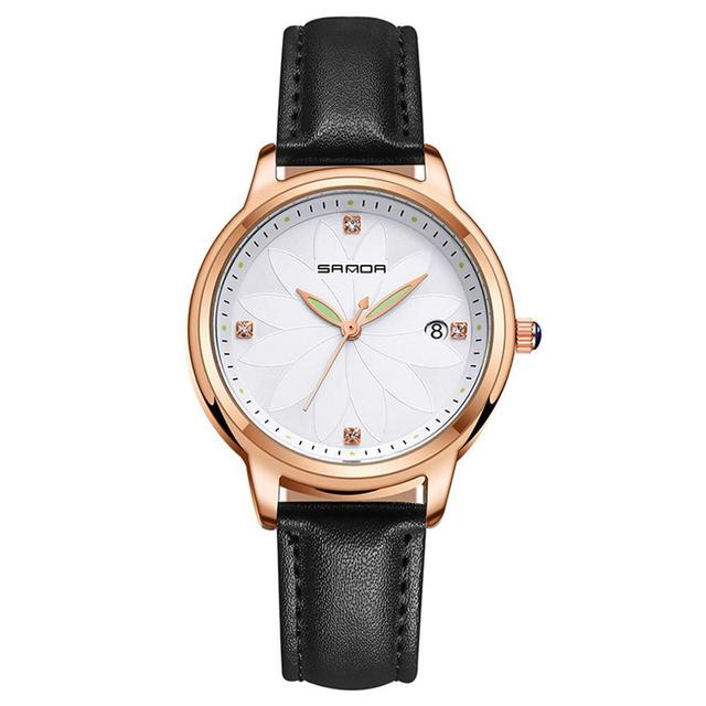 Sanda Exquisite Women Men Quartz Watch with 3 Willow Leaf Pointer Wristwatch Sma