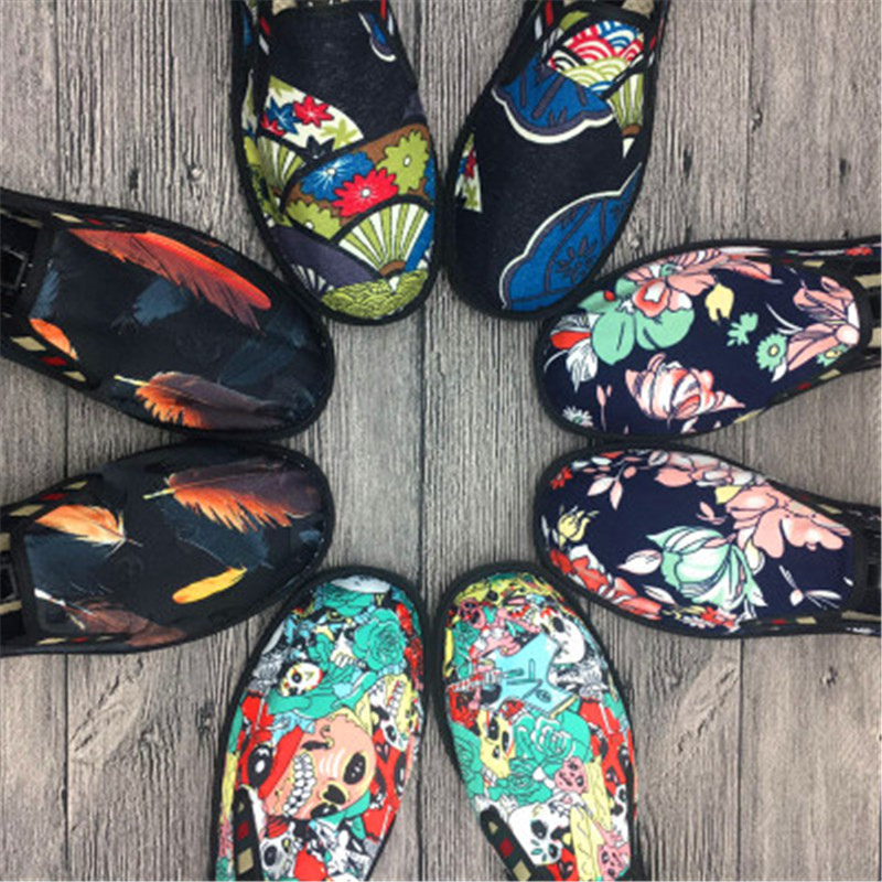 Fashion Flats Shoes Espadrilles Loafers Light Hard-Wearing Rubber Spring Canvas Embroider Shoes 2019 Man Women Canvas Harajuku