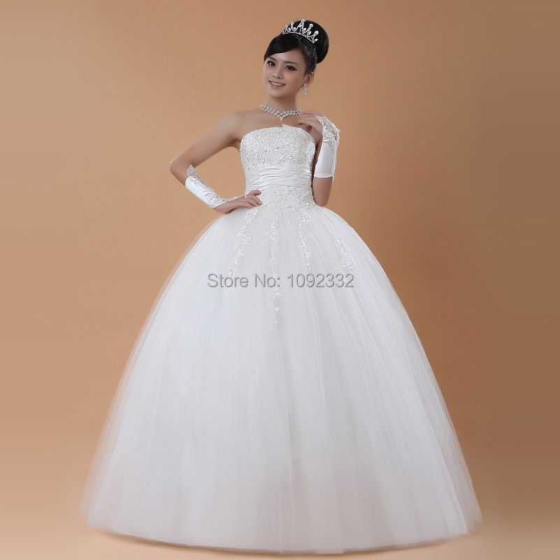 s Bridal gown plus size  women  new lace embroidery  tube top wedding dress lace up ball gown strapless floor length A97