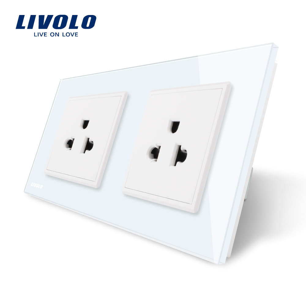 LIVOLO, Manufacturer, 16A US Standard, Wall Electric / Power Double Socket /Plug, Crystal Glass Panel,VL-C7C2US-11 smart home wall socket 16a french standard wall electric power double socket plug crystal glass panel
