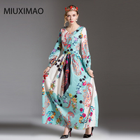 2017 Newest Europe Fashion Autumn High Quality A Line Full Sleeve Elegant Floral Print Casual Floor