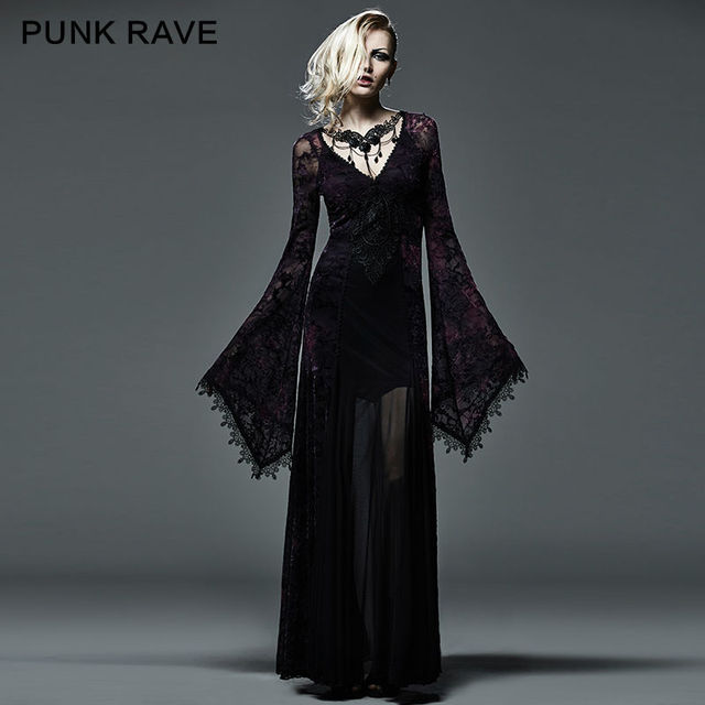 Nieuwe Gothic Victoriaanse Arwen Lange Jurk Retro Maxi Vampire Kera Lolita Kleding Q265