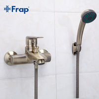 1 Set Retro Style Bronze Brushed Shower Faucet Cold And Hot Water Mixer Short Nose Single