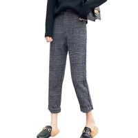 Moda 2017 Jesień Zima Kobiet Spodnie Harem Pants Rocznika Wełniana Houndstooth Szczupła Wysokiej Talii Spodnie