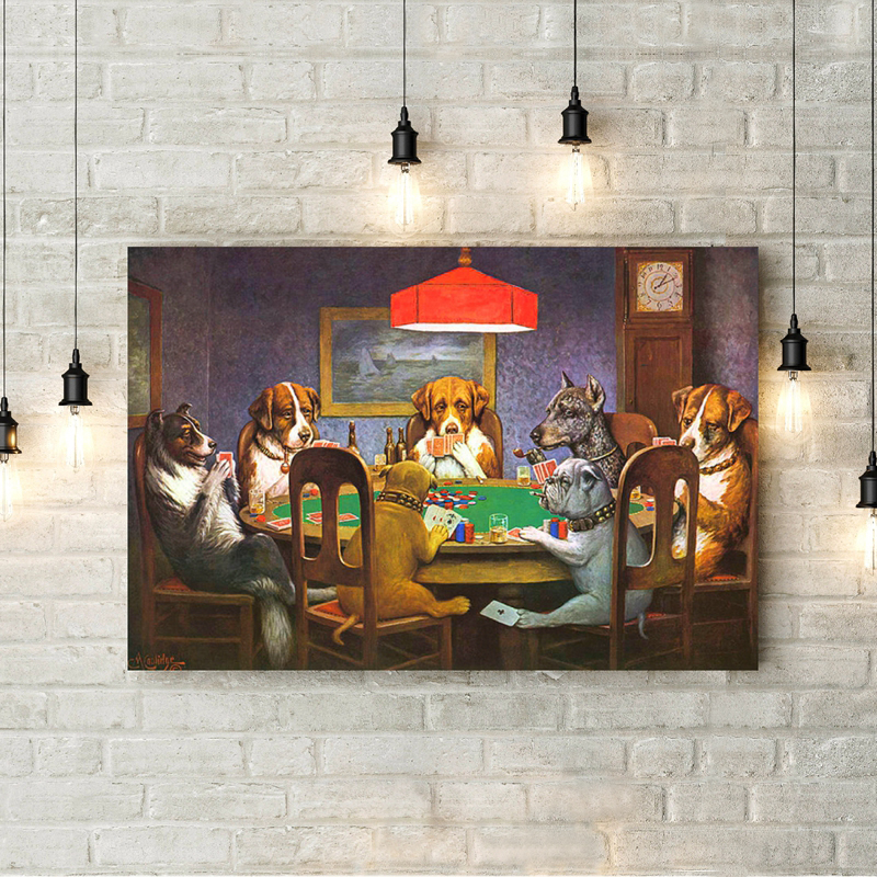 Dogs Playing Poker Funny Poster and Prints Wall Picture Cool Pet Dog Pug in Casino Art Canvas Painting Living Room Home Decor image