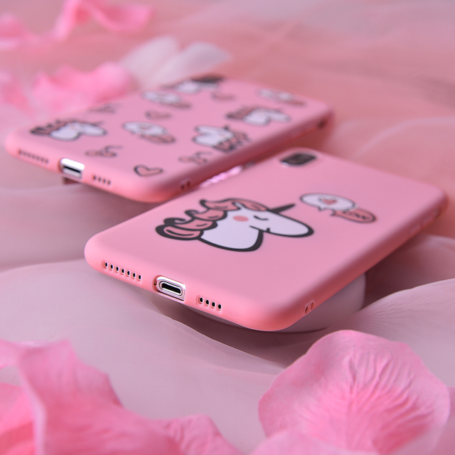 Fashion Unicorn Pink Soft Silicone Phone Case For iPhone