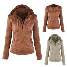 цены на Plus Size XS-7XL Women Hoodies Winter Moto Leather Jacket Faux Leather Coat 2019 Turn Down Collar Ladies Zipper Outerwear New  в интернет-магазинах