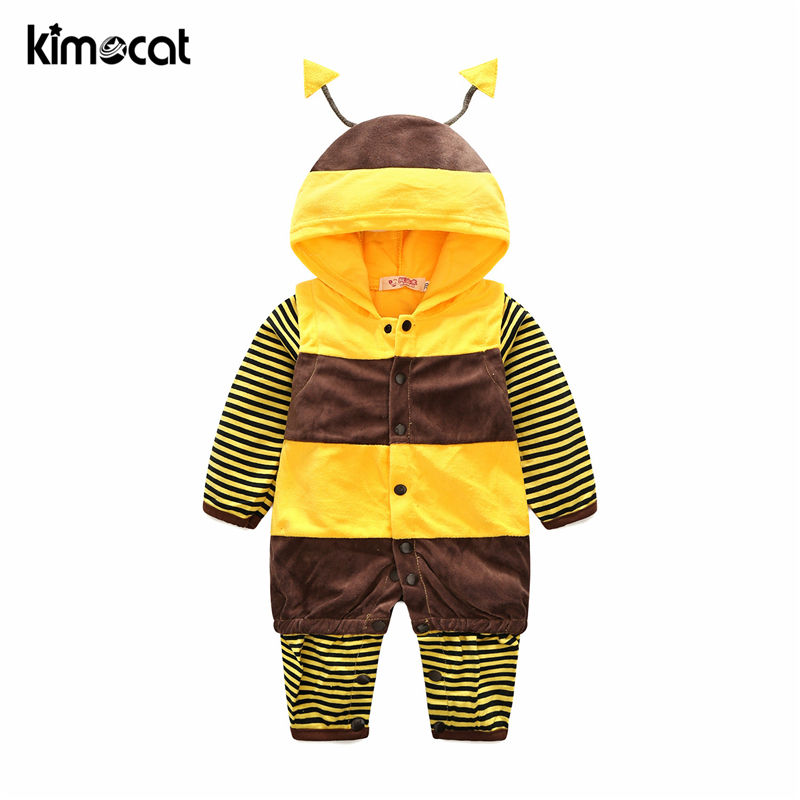 Kimocat Baby Boy Girl Clothes Long Sleeve Bright Cartoon Small Bee Hooded With Hooded Jumpsuit Spring Autumn Boys   Rompers