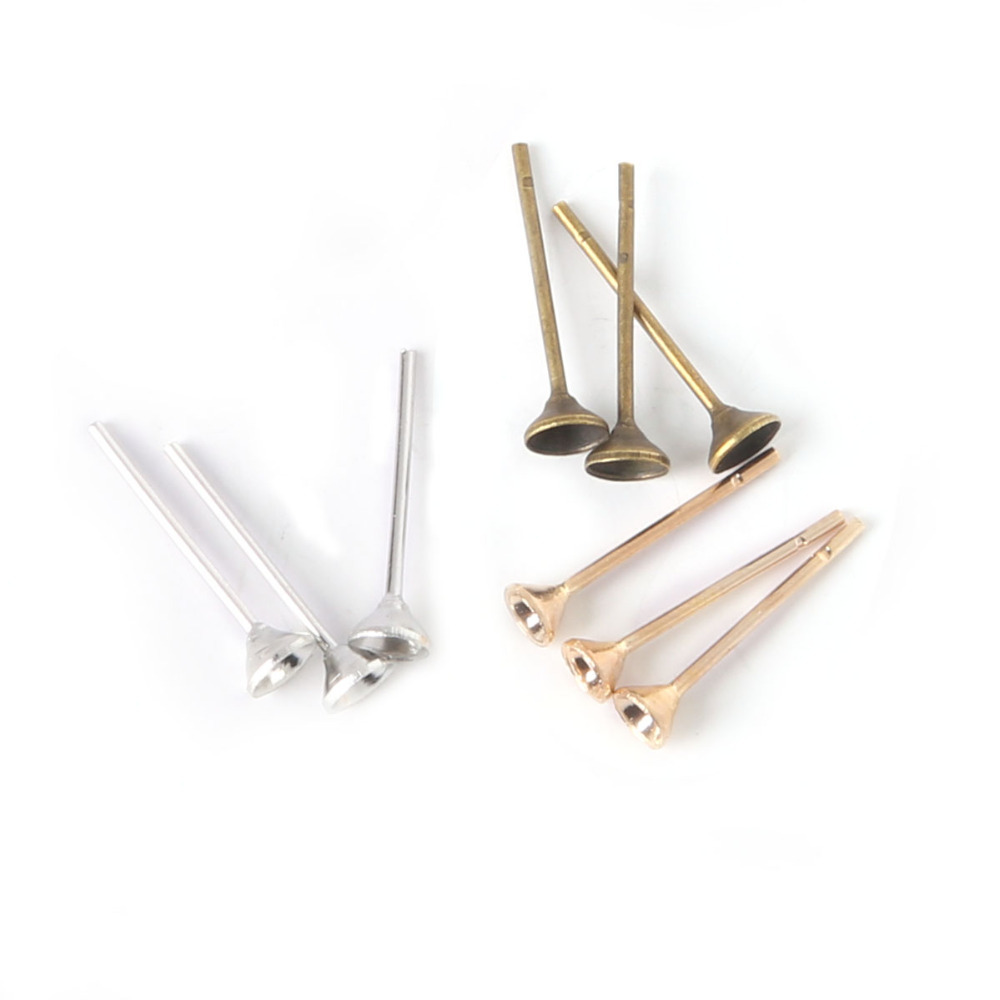 Lot 4*14mm Ear Nail Iron Flat Base Cup  Posts Earring Findings Frb02501