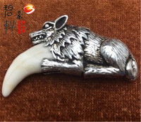 S925 Pure Silver Spike Man Necklace Spike Modelling Of Bone Silver Teeth Inlay Wolf Dog Ornaments